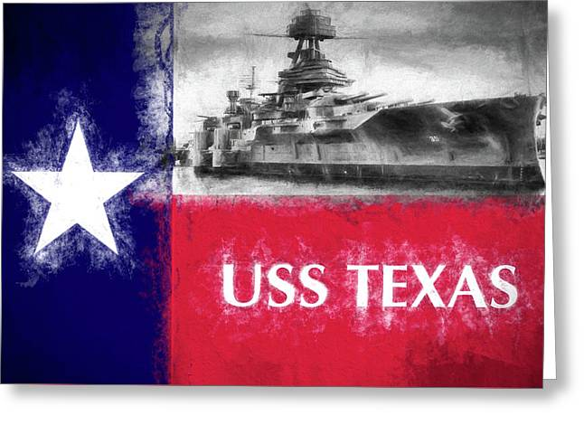 Uss Texas Flag Greeting Card by JC Findley