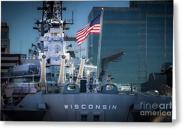 Uss Wisconsin With American Flag Greeting Card by Robert Anastasi