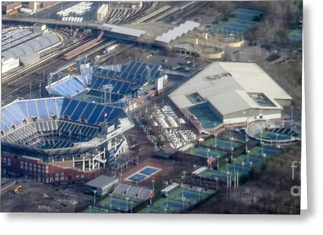 Usta Billie Jean King National Tennis Center And Arthur Ashe Stadium Aerial Photo Greeting Card by David Oppenheimer