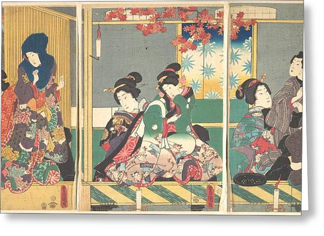 Utagawa Kunisada      Banquet Of The Next Full Moon At The Chrysanthemum Festival From The Series The Twelve Month Greeting Card