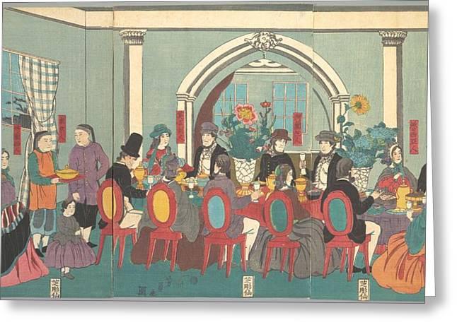 Utagawa Yoshikazu    Foreigners From The Five Nations Enjoying A Banquet Greeting Card