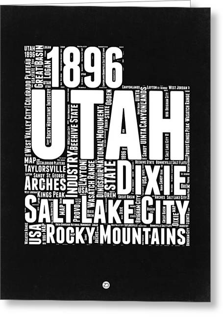 Utah Black And White Word Cloud Map Greeting Card by Naxart Studio