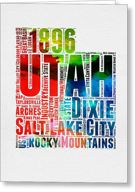 Utah Watercolor Word Cloud Map Greeting Card by Naxart Studio