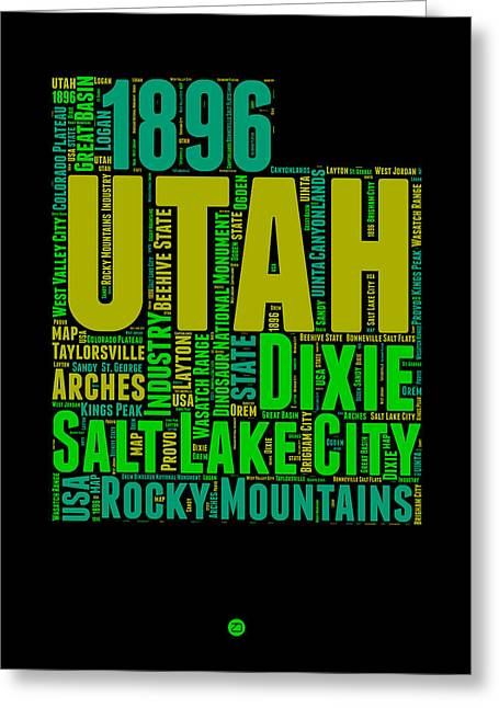 Utah Word Cloud Map 1 Greeting Card