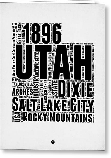 Utah Word Cloud Map 2 Greeting Card