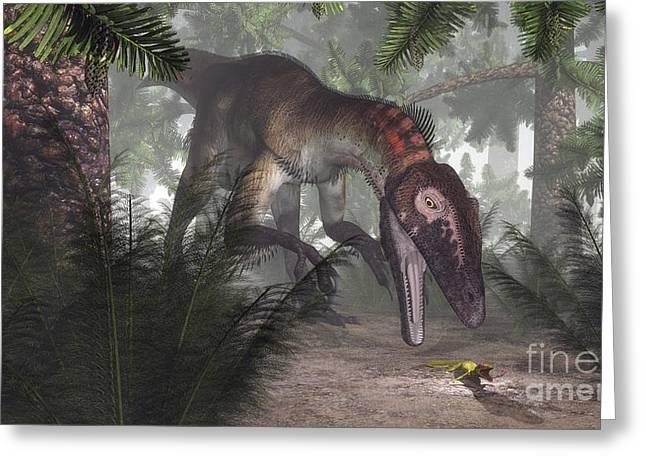 Gecko Illustration Greeting Cards - Utahraptor Dinosaur Hunting A Gecko Greeting Card by Elena Duvernay