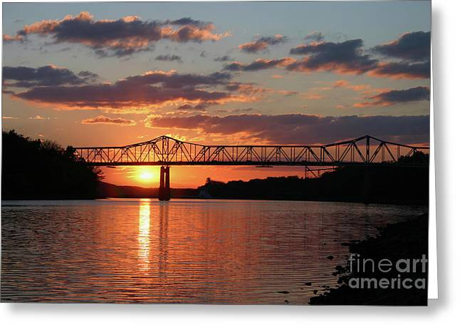 Utica Bridge At Sunset Greeting Card
