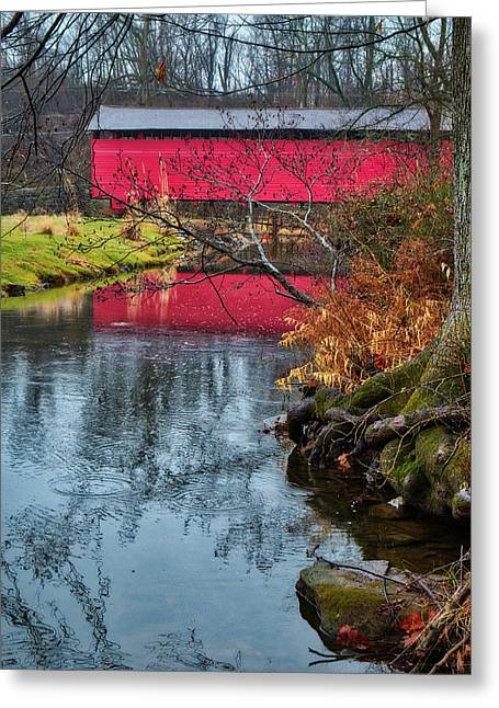 Greeting Card featuring the photograph Utica Covered Bridge by Mark Dodd