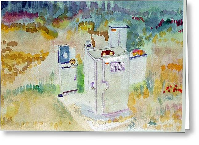 Utility Boxes Near A Forest Greeting Card