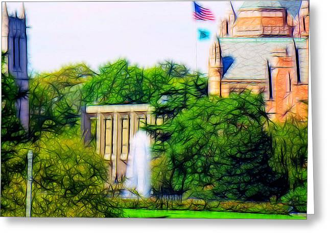 Uw Fountain Greeting Card by Tim Coleman