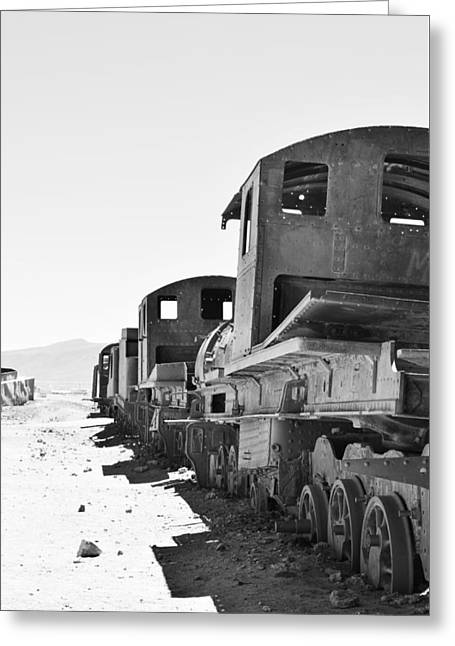 Uyuni Train Cemetery  Greeting Card by Sandy Taylor