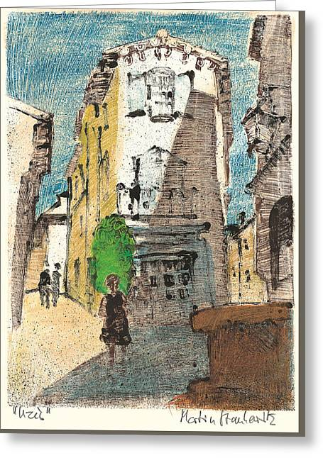 Greeting Card featuring the painting Uzes Provence by Martin Stankewitz