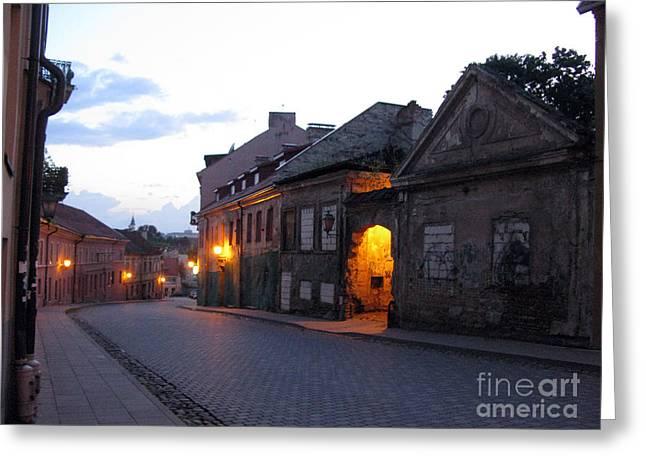 Uzupis Street. Old Vilnius. Lithuania. Greeting Card