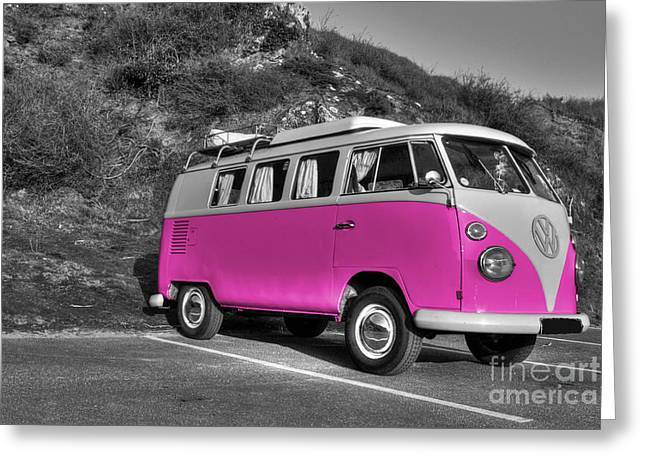 V-dub In Pink  Greeting Card by Rob Hawkins