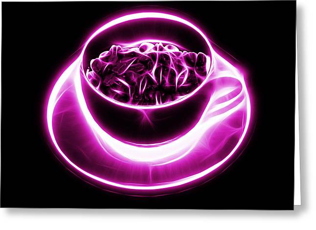 V2-bb-electrifyin The Coffee Bean-magenta Greeting Card