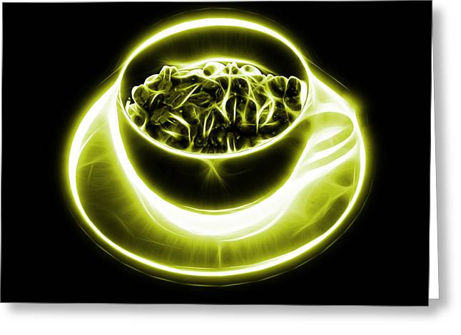 V2-bb-electrifyin The Coffee Bean-yellow Greeting Card by James Ahn