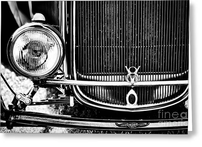 V8 Monochrome Greeting Card by Tim Gainey