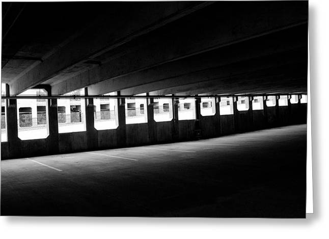Vacant Parking Garage Greeting Card by Ahmed Hashim