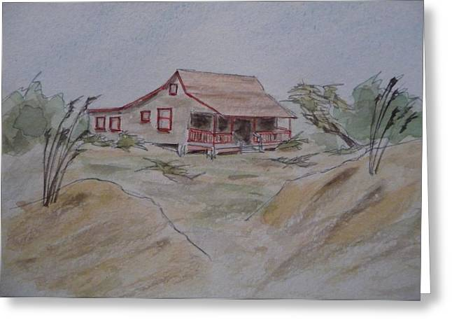 Greeting Card featuring the painting Vacation Cottage - Kitty Hawk by Joel Deutsch