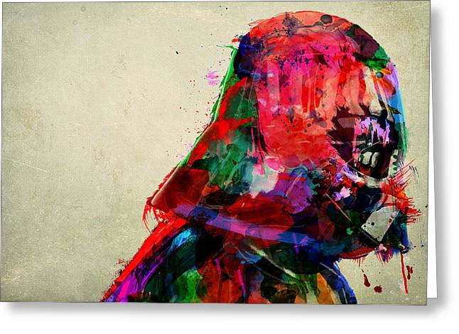Vader In Color And Thought Greeting Card by Mitch Boyce