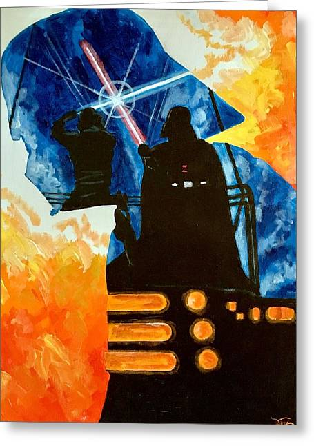 Greeting Card featuring the painting Vader by Joel Tesch