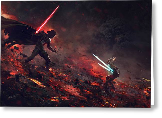 Vader Vs Ahsoka Greeting Card by Guillem H Pongiluppi