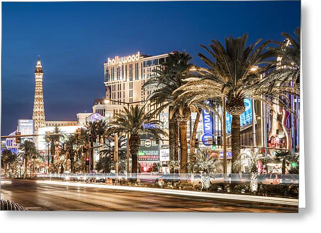 Vagas Strip Blue Hour Greeting Card by John McGraw