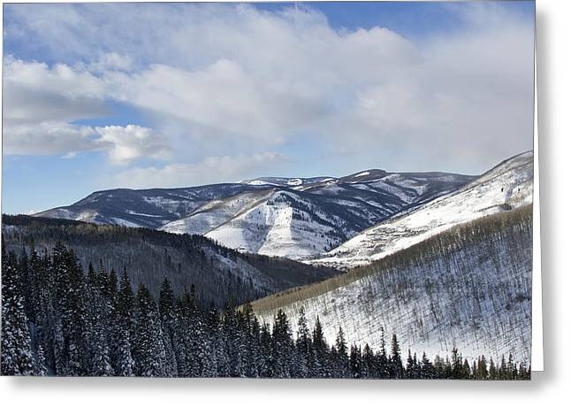 Mountain Valley Greeting Cards - Vail Valley from Ski Slopes Greeting Card by Brendan Reals