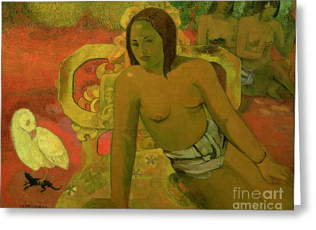 Chest Greeting Cards - Vairumati Greeting Card by Paul Gauguin