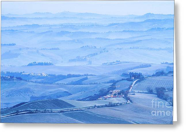 Val D'orcia In The Frost Greeting Card