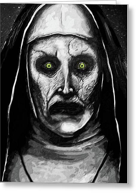 Greeting Card featuring the digital art Valak The Demon Nun by Taylan Apukovska