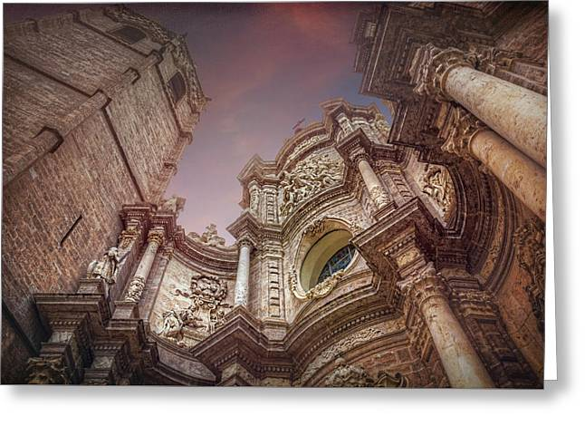 Valencia Cathedral And Miguelete Bell Tower  Greeting Card