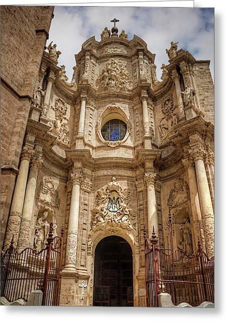 Valencia Cathedral Facade  Greeting Card by Carol Japp