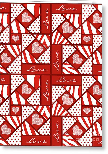 Greeting Card featuring the digital art Valentine 4 Square Quilt Block by Methune Hively