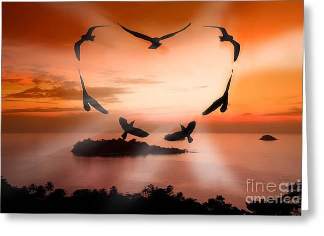 Valentine Bird Greeting Card by Anek Suwannaphoom