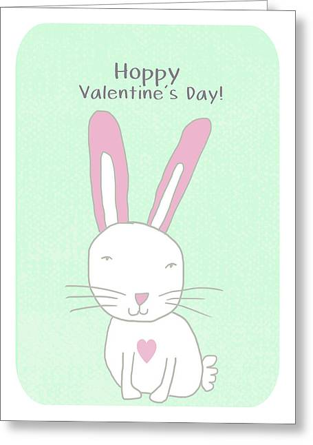 Valentine Bunny- Art By Linda Woods Greeting Card by Linda Woods
