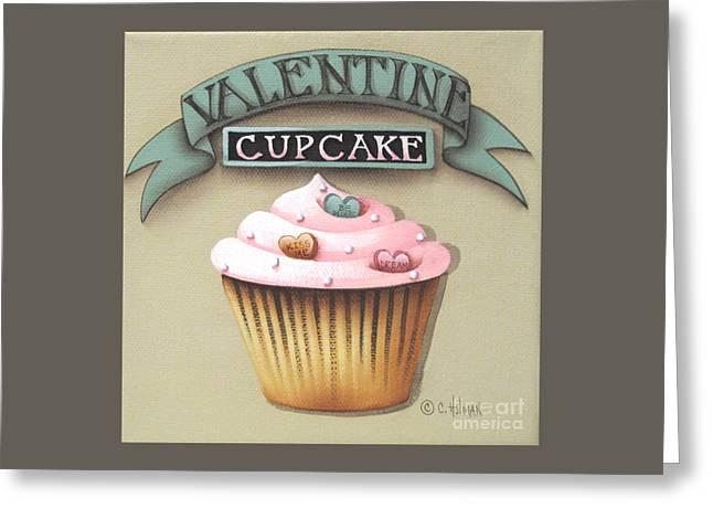 Valentine Cupcake Small Greeting Card by Catherine Holman