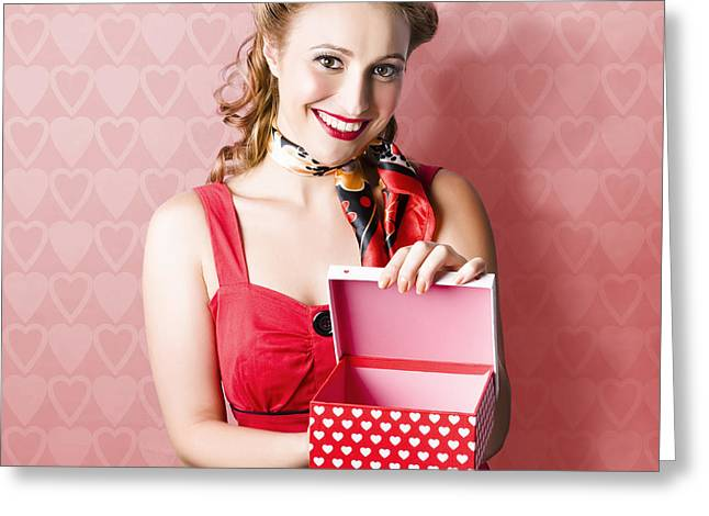 Valentine Day Woman With Red Heart Gift From Lover Greeting Card by Jorgo Photography - Wall Art Gallery