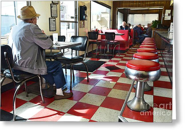Valentine Diner Interior Greeting Card by Catherine Sherman