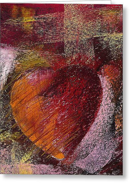 Red Abstract Pastels Greeting Cards - Valentine Heart Greeting Card by David Patterson