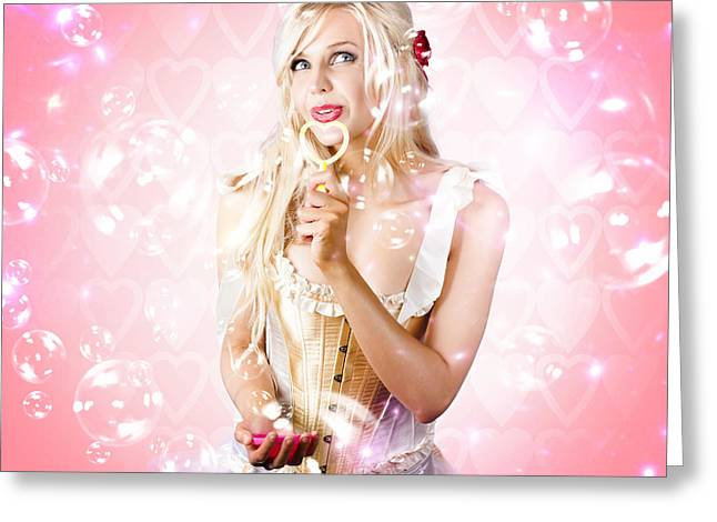 Valentine Love Concept On Pink Heart Background Greeting Card by Jorgo Photography - Wall Art Gallery