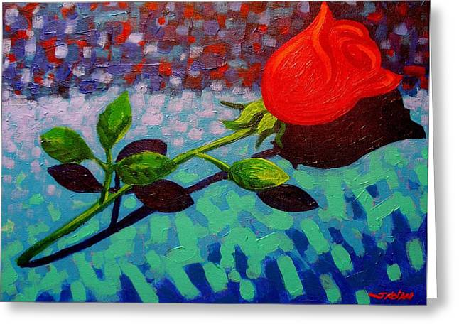 Acrylic Art Greeting Cards - Valentine Rose Greeting Card by John  Nolan