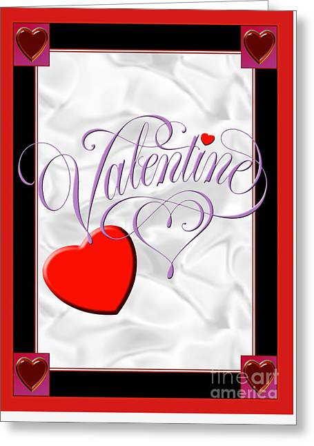 Valentine Script Greeting Card by Melissa A Benson