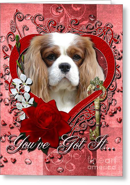 Valentines - Key To My Heart Cavalier King Charles Spaniel Greeting Card by Renae Laughner