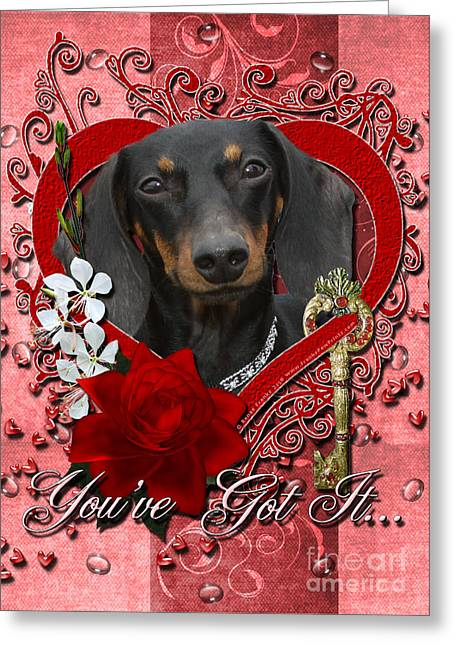 Valentines - Key To My Heart Dachshund Greeting Card by Renae Laughner