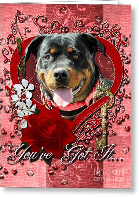 Valentines - Key To My Heart Rottweiler Greeting Card by Renae Laughner