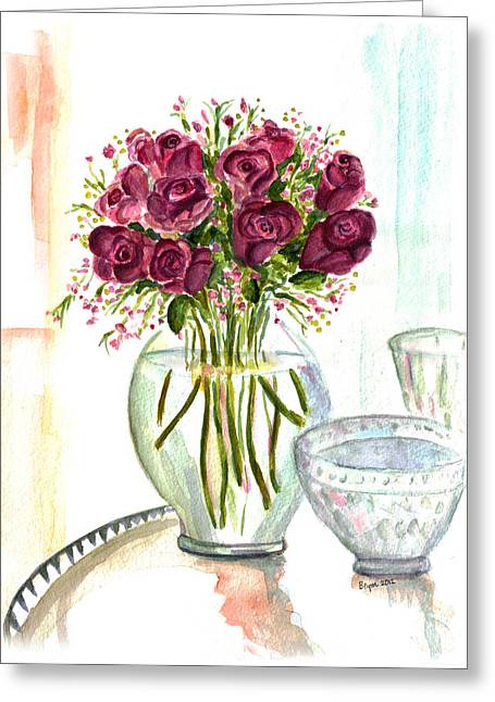 Valentines Crystal Rose Greeting Card