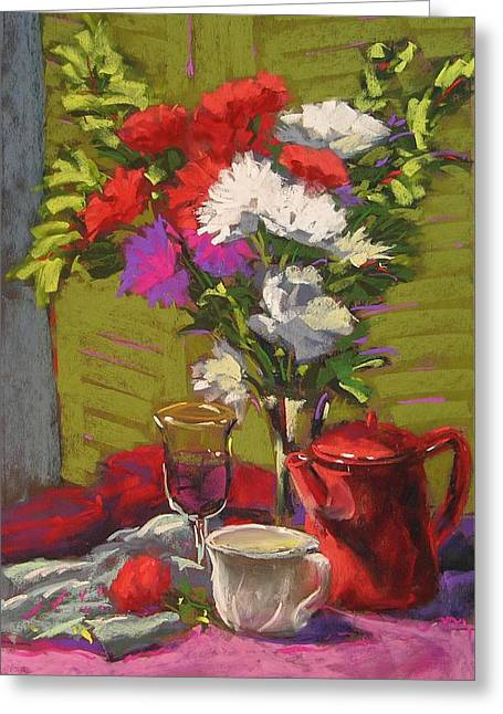 Valentine's Day Bouquet Greeting Card by Mary McInnis