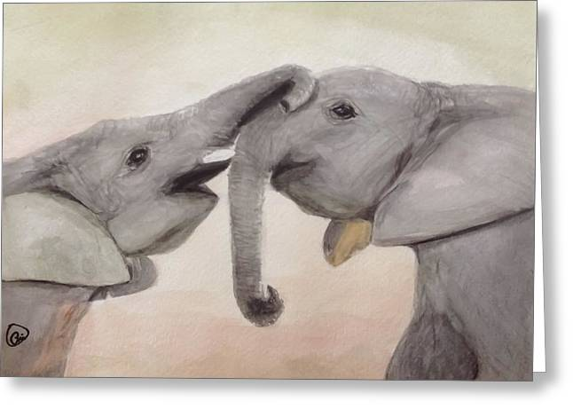 Valentine's Day Elephant Greeting Card by Annie Poitras