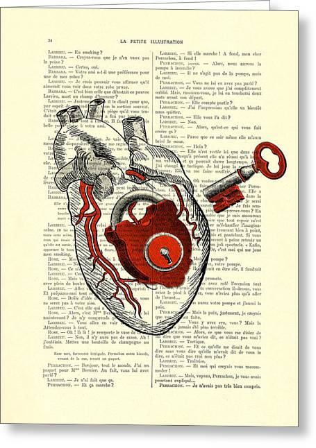 Valentine's Day Gift, Heart With Key Greeting Card